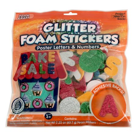 glitter foam stickers poster letters and numbers