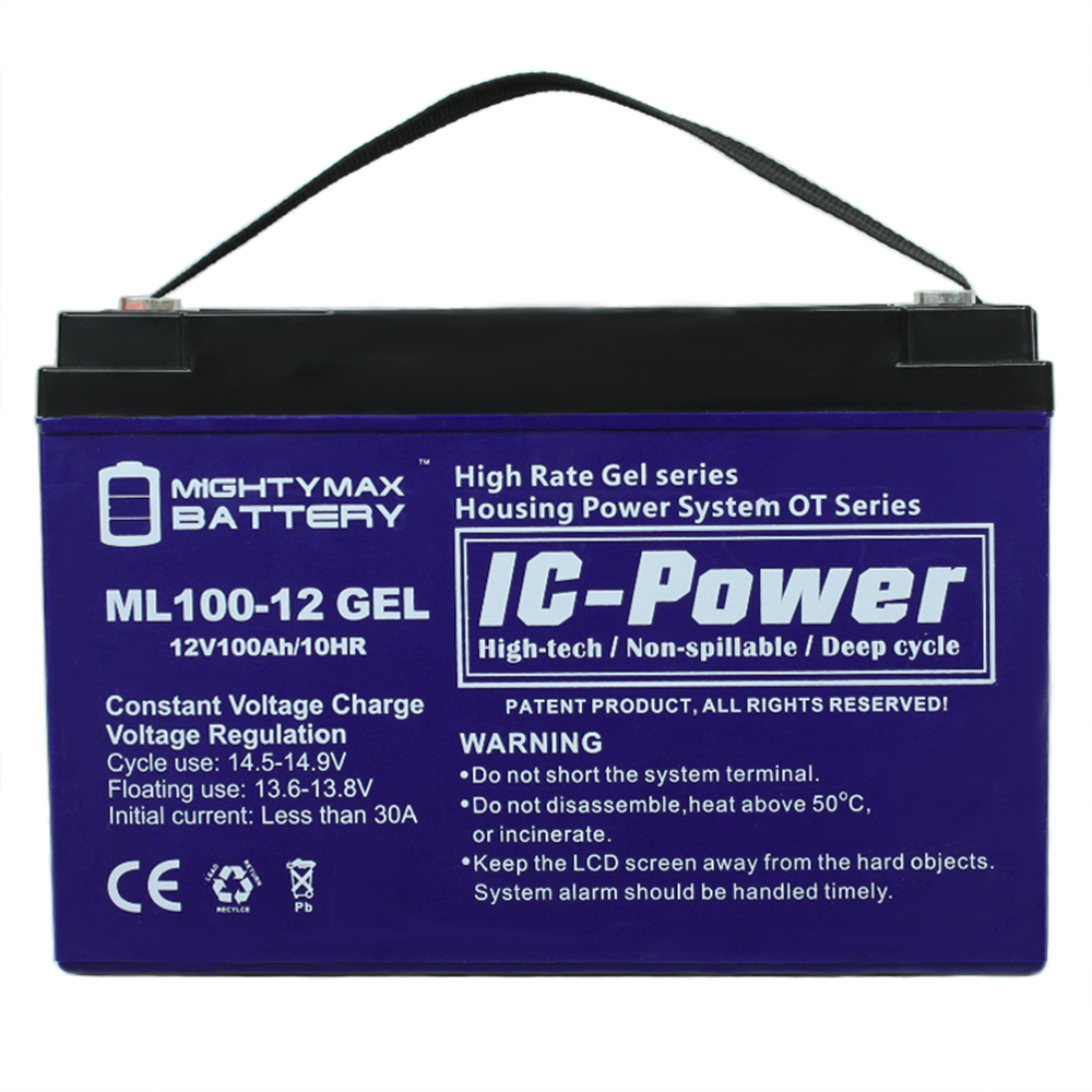 12V 100AH GEL Battery Replaces Goal Zero Yeti 1250 Solar Generator by Mighty Max Battery
