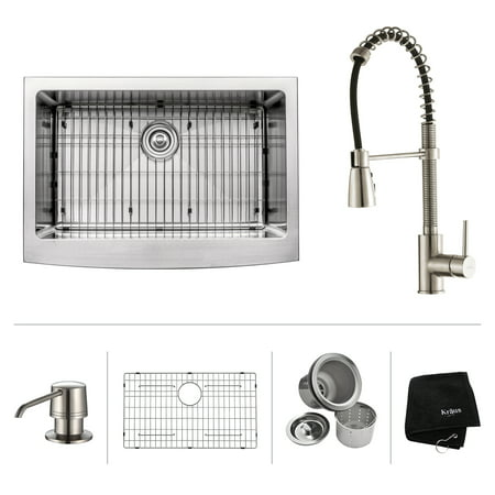 KRAUS 30 Inch Farmhouse Single Bowl Stainless Steel Kitchen Sink with Commercial Style Kitchen Faucet & Soap Dispenser in Stainless Steel