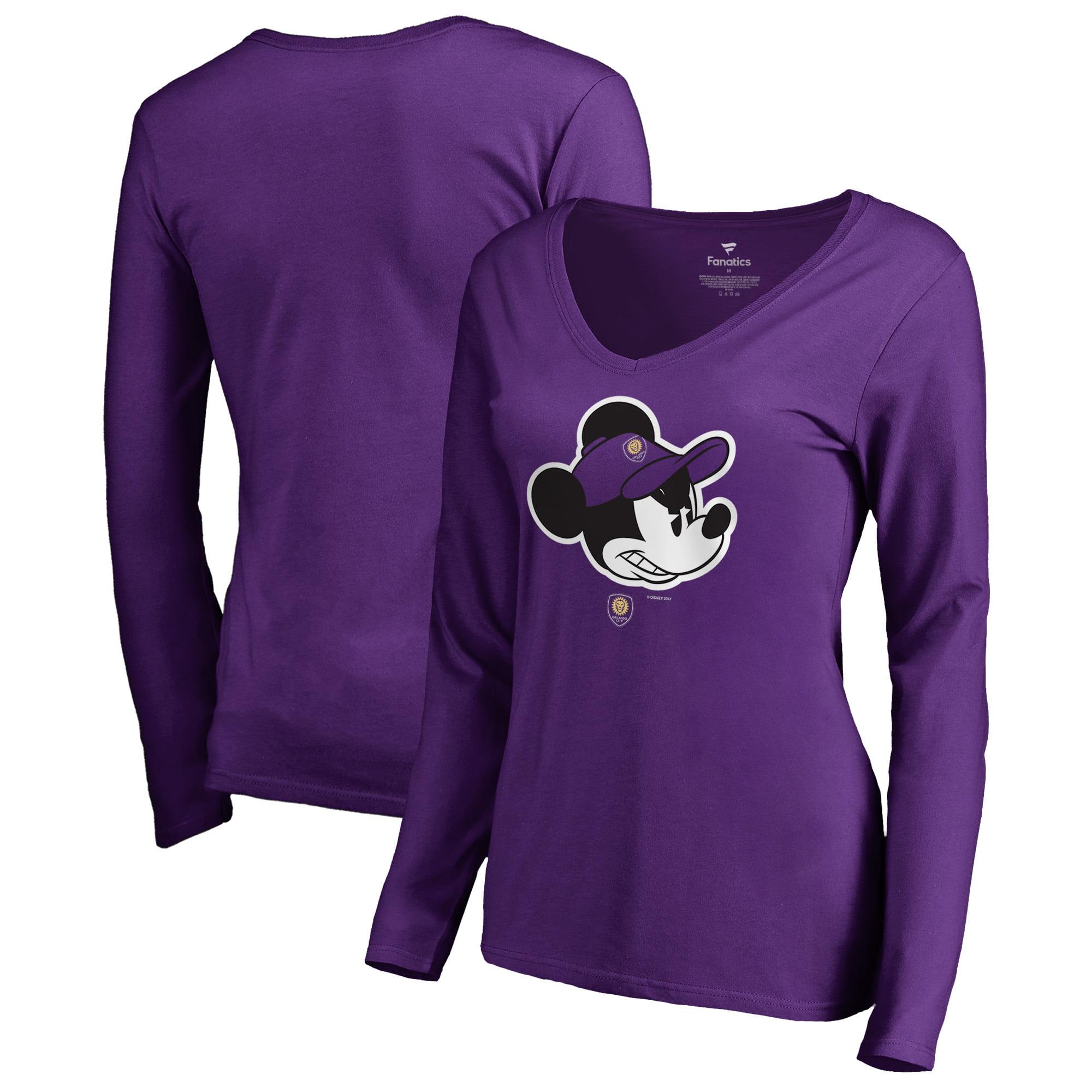 Orlando City SC Fanatics Branded Women's Disney Game Face Long Sleeve V-Neck T-Shirt - Purple