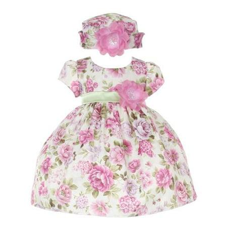 Baby Girls Lavender Jacquard Floral Printed Adorned Hat Easter Dress 6M