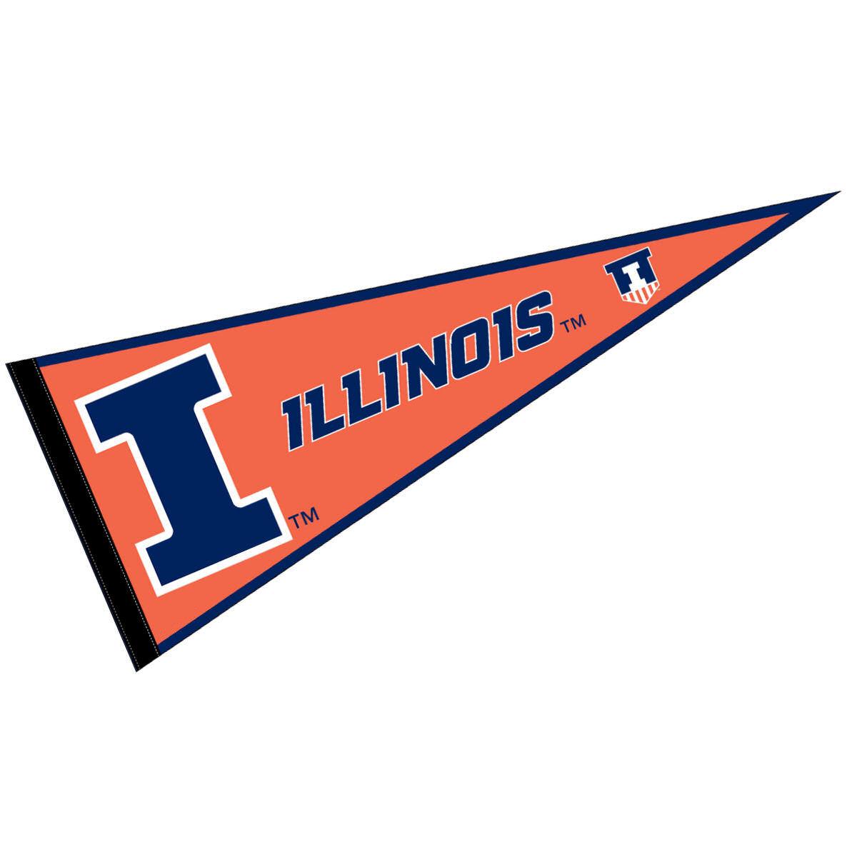 """Illinois Fighting Illini 12"""" X 30"""" Felt College Pennant"""
