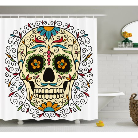 Sugar Skull Shower Curtain Catrina Calavera Featured Figure Ornaments Macabre Remember The Dead Theme
