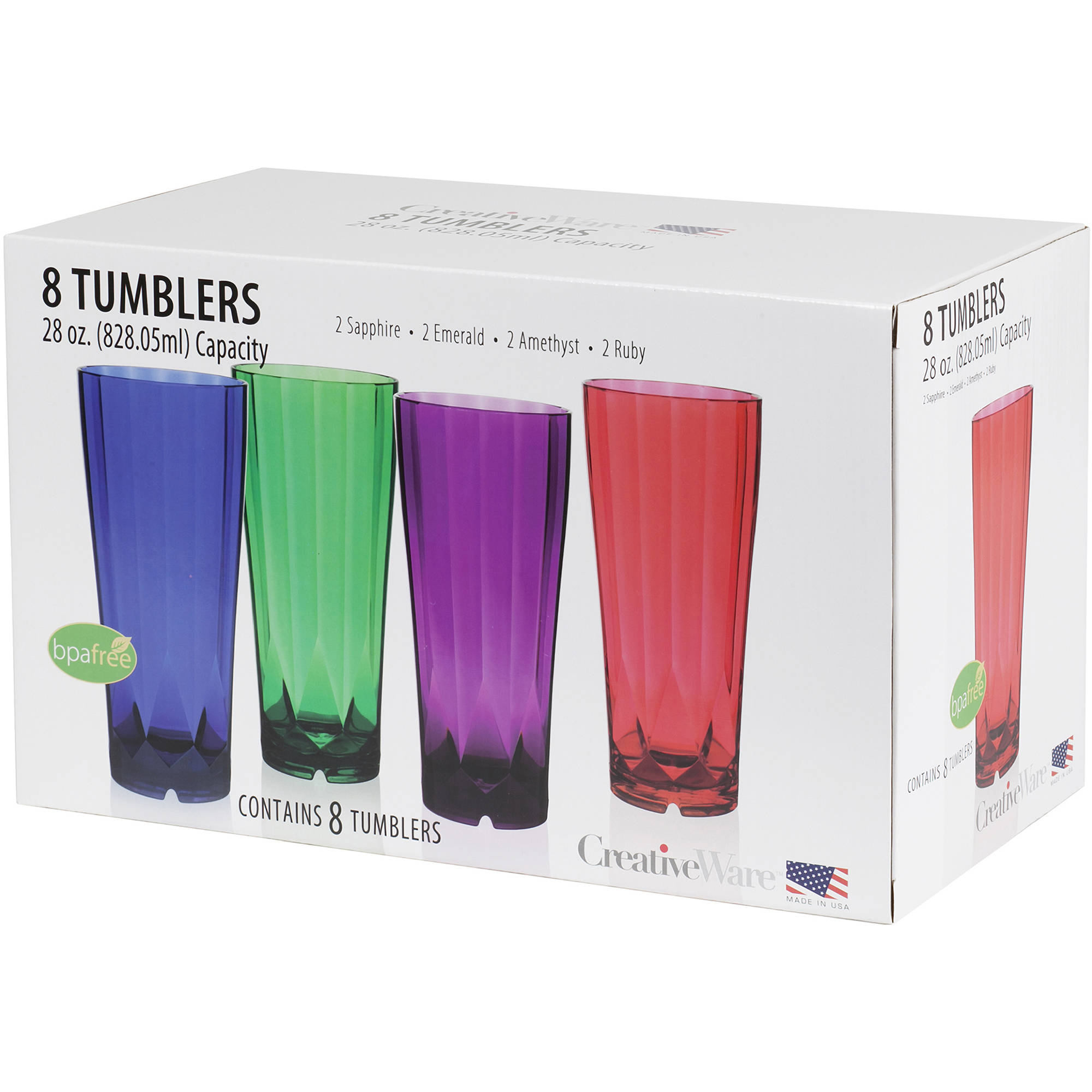 Creative Ware Diamond 28 oz Tumblers Set, 8pk