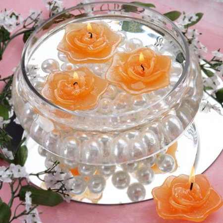 Houston Candle Supply (Efavormart Set of 20 Unscented Floating Rose Candle for Wedding Party Birthday Centerpieces Home Decorations)