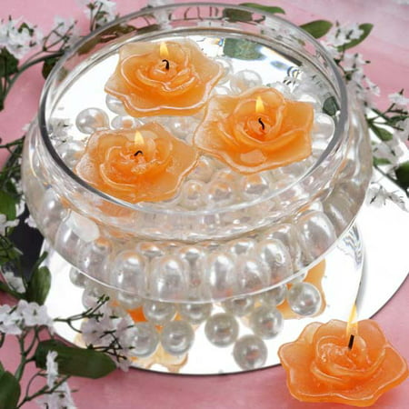 Efavormart Set of 20 Unscented Floating Rose Candle for Wedding Party Birthday Centerpieces Home Decorations Supplies (White Rose Floating Candles)
