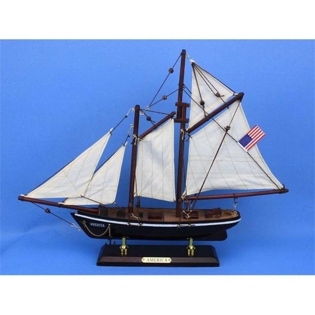 Handcrafted Decor America 16 Wooden America Model Sailboat Decoration, 16 in. by Handcrafted Decor