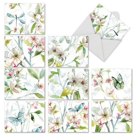 'M6592OCB DOGWOOD DAYS' 10 Assorted All Occasions Greeting Cards Featuring a Larger Painting of Watercolor Dogwood Flowers That is Cropped into Smaller Images, with Envelopes by The Best Card -