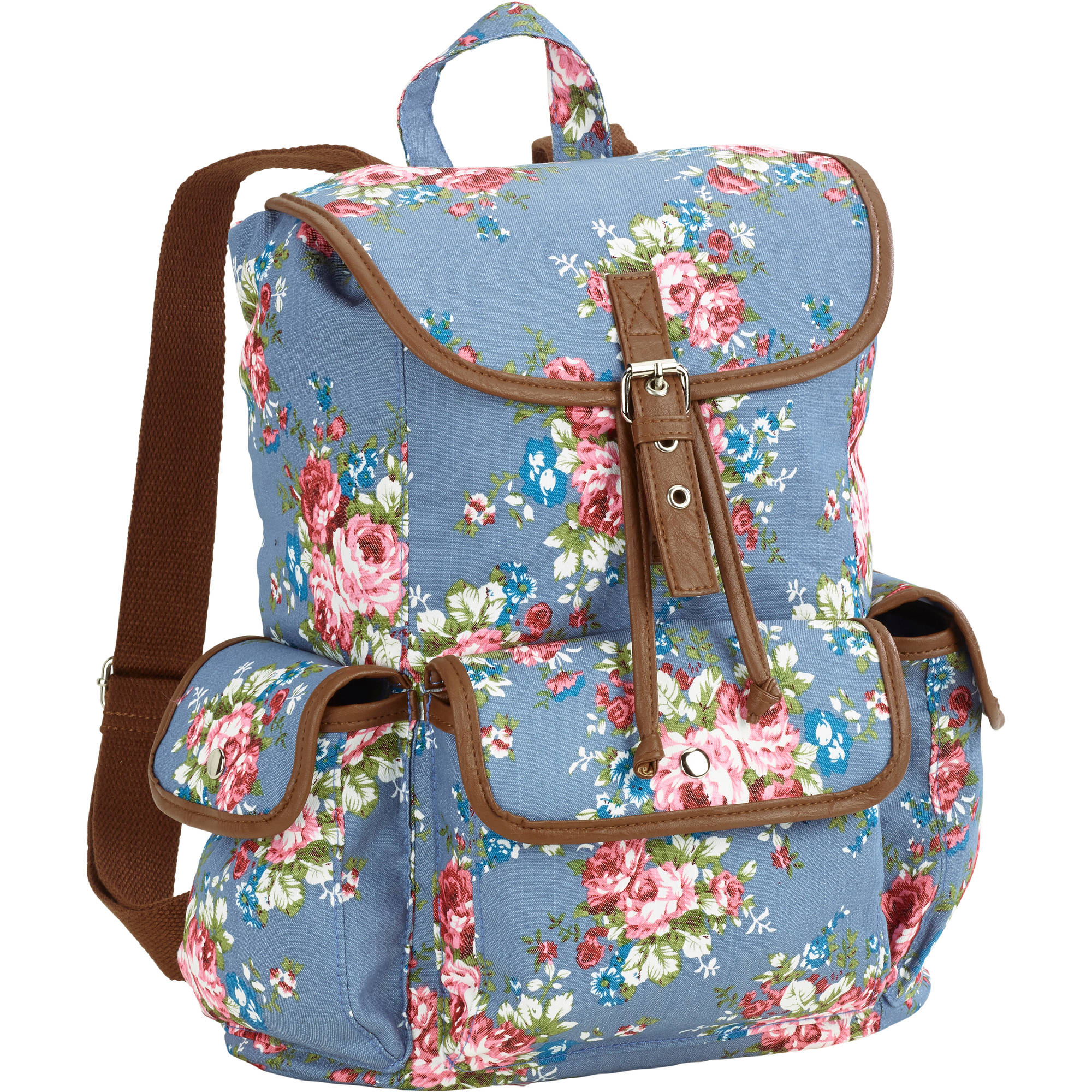 "No Boundaries 18"" Printed Canvas Buckle Flap Backpack - Walmart.com"