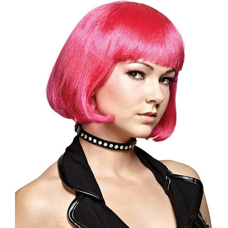 Hot Pink Bob Wig Adult Halloween Accessory - Hot Pink Curly Wig