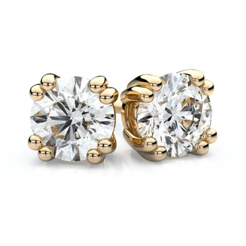 18k Yellow Gold 1/2ct TDW Double Prong Round Diamond Stud Earrings (H-I, VS1-VS2)1-VS2)