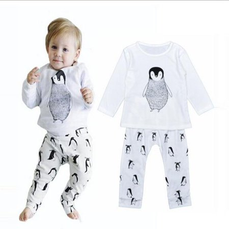 (iLH Mallroom Baby Cartoon Pattern Long Sleeve + Trousers Pajamas Toddler Clothes 1Set WH 80)