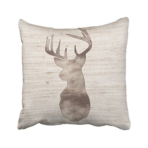 Winhome Decorative Rustic Watercolor Deer Head On Burlap Throw Pillow Case Size 18x18 Inches Two Side Walmart Com Walmart Com