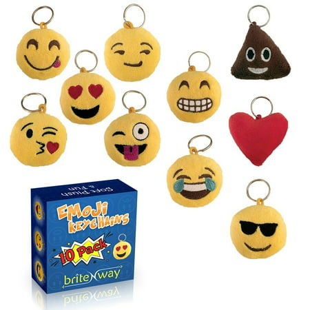 Emoji Keychain Round Faces Set of 10 - Cute Sweet Soft & Plush Yellow Pillow Keychains - Durable Metal Hook Ring - Funny Children Party Favors - Easy Installation On Backpacks, Purses, Phones & Stuff (Emoji Ring)