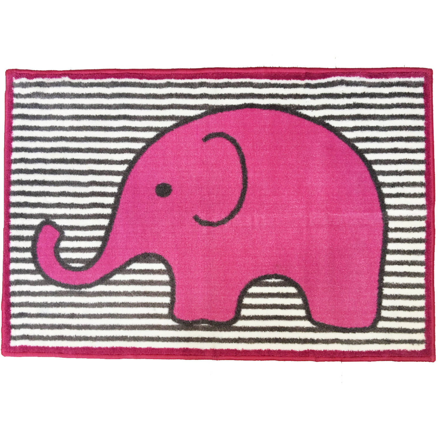 Bacati - Elephants Rug 24 x 36 inches Nylon with nonskid backing, Pink/Gray