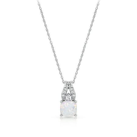 Sterling Silver Created Opal Pendant Necklace (Opal Slide Pendant)