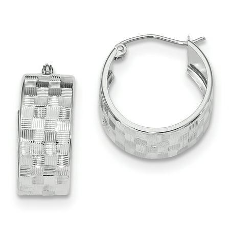 14K White Gold Diamond Cut Hoop Earrings - image 2 of 2