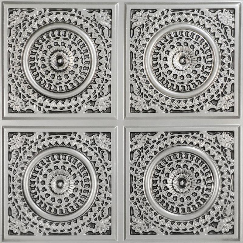 Grandma's Doilies Quartet 2 ft. x 2 ft. PVC Glue-up in Ceiling Tile in Antique Silver