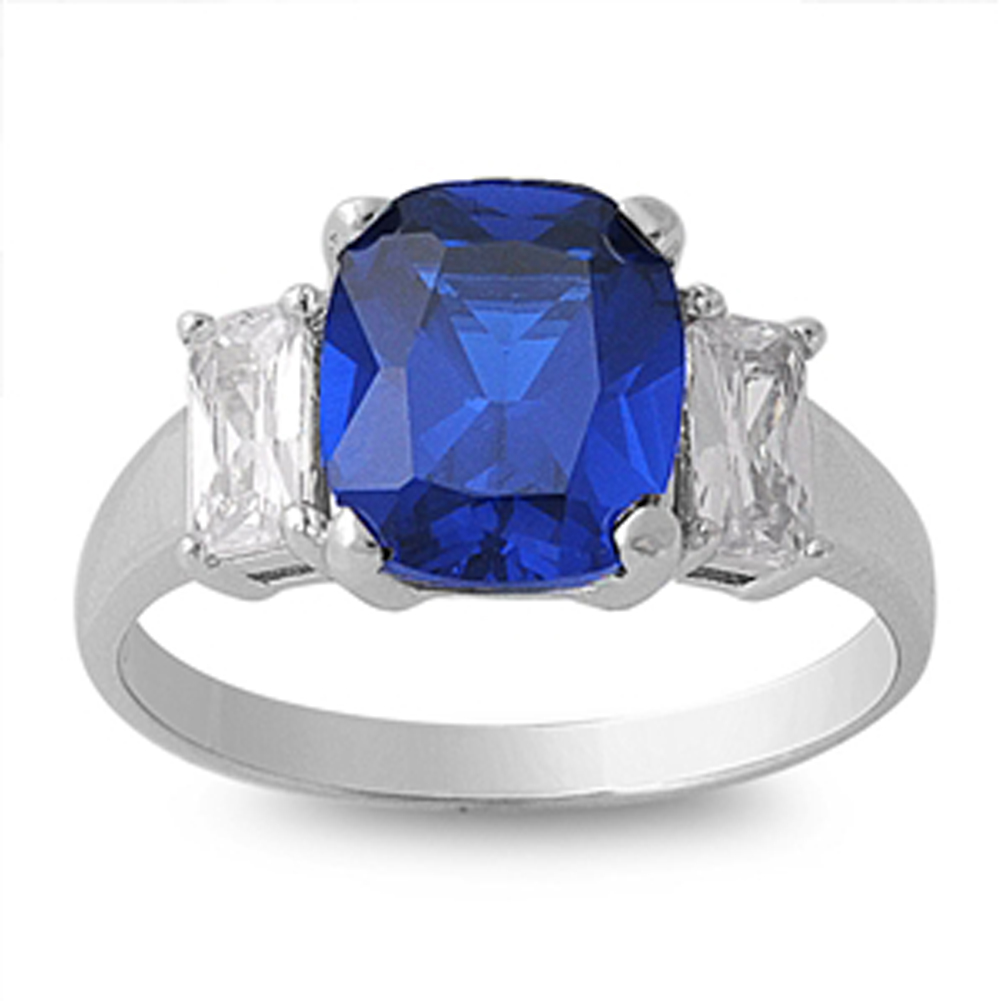 Sterling Silver Women's Blue Simulated Sapphire Ring ( Sizes 5 6 7 8 9 10 ) Classic 925 Band 10mm Rings (Size 6)