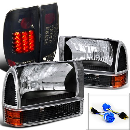 Spec-D Tuning For 1999-2004 Ford F250 Super Duty Black Headlights + Corner Lights Lamps + Glossy Black Led Tail Lights (Left+Right) 1999 2000 2001 2002 2003 2004