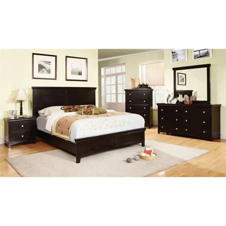 Furniture of America Fanquite 4 Piece Queen Bedroom Set in Espresso ()