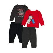 Garanimals Baby Boy Sweatshirt & Sweatpants Outfit Set, 4pc