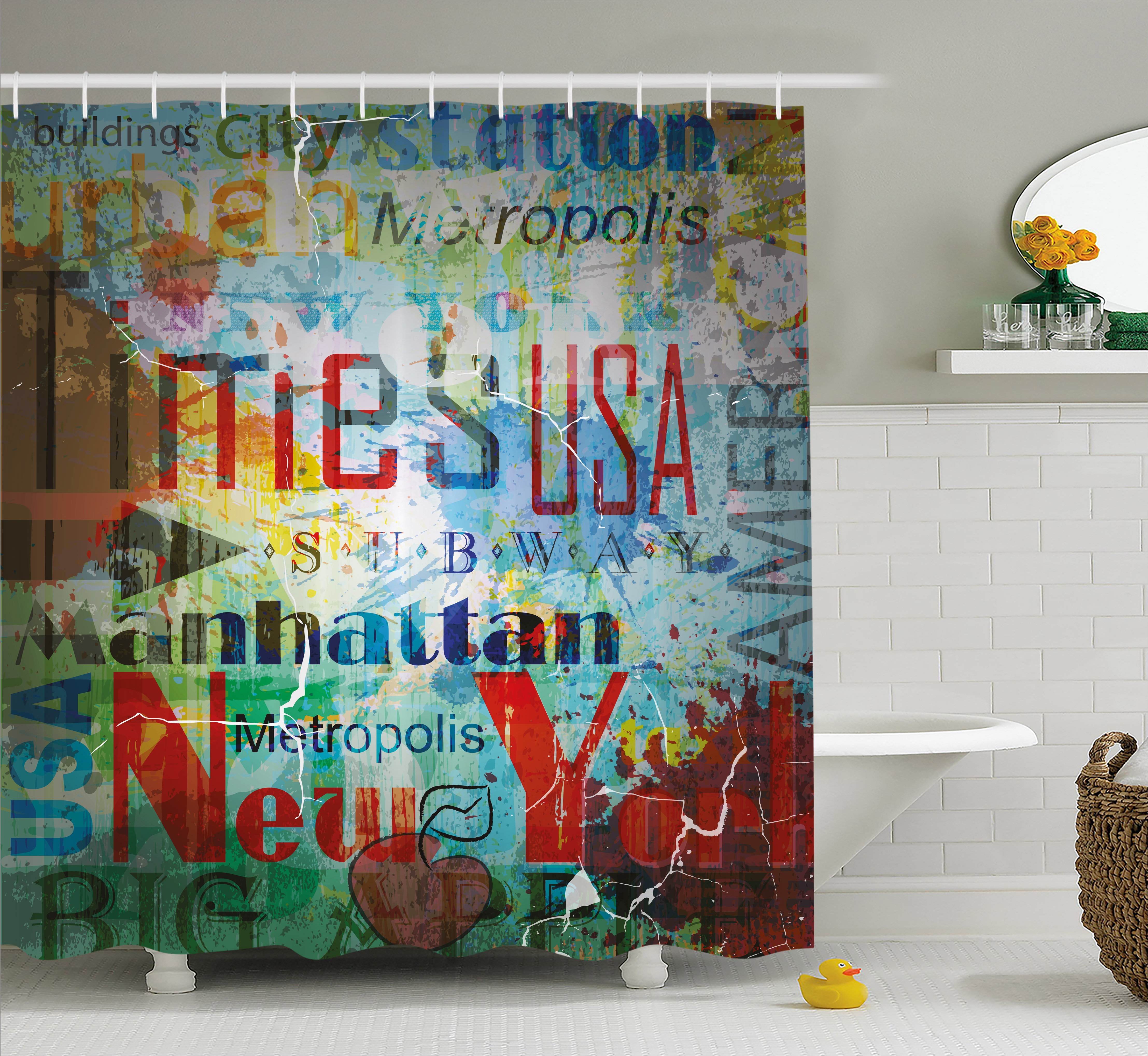 New York Shower Curtain, Grunge Collage of Words American Culture Country Metropolis Modern Urban Decor, Fabric Bathroom Set with Hooks, 69W X 70L Inches, Multicolor, by Ambesonne
