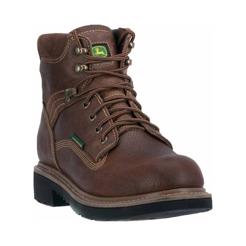"John Deere Men's 6"" Waterproof Lace Up Steel Toe Toasted Wheat (14W) by John Deere"