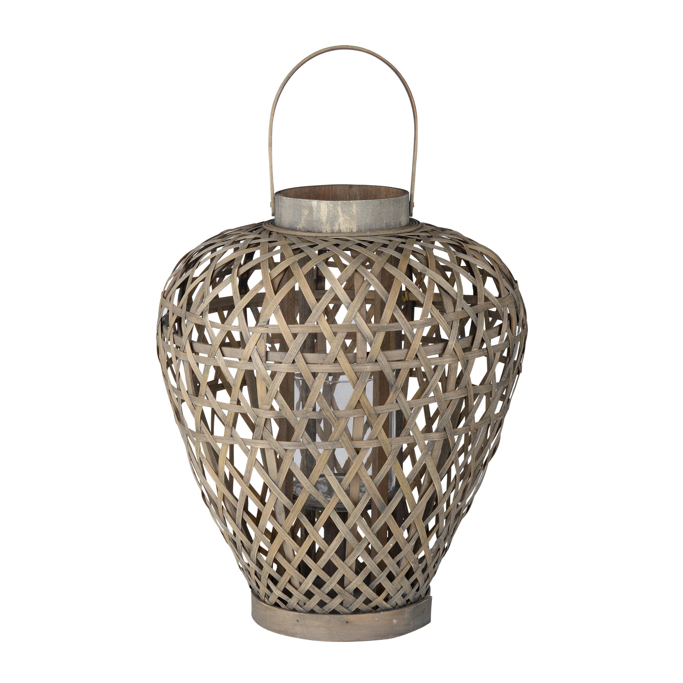 A&B Home Coconio Wood Lattice Lantern, Waterfall