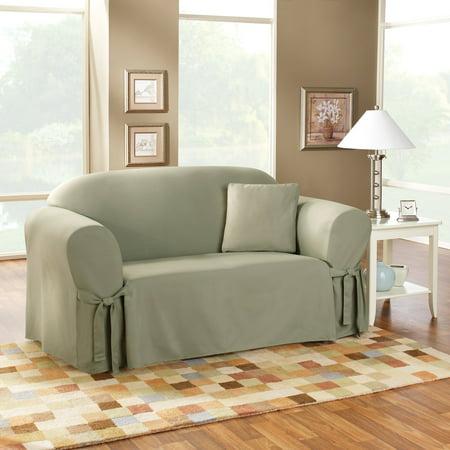 Sure Fit Cotton Duck Sage Sofa Slipcover Walmart Com