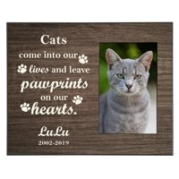 Personalized Pawprints in Heaven Brown Frame - Available in Brown or Cream and Cat or Dog