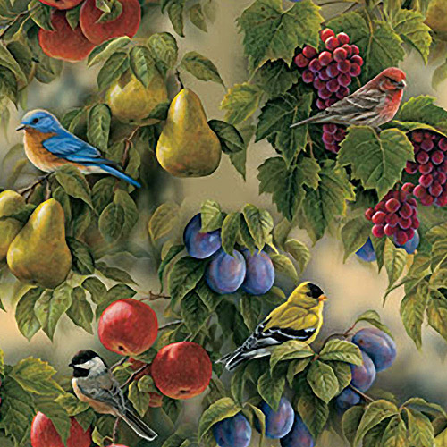 "Creative Cuts Cotton 44"" wide, 2 yard cut fabric - Birds and Fruit"