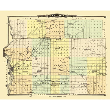 Old County Map   St  Croix Wisconsin Landowner   Snyder 1878   28 38 X 23