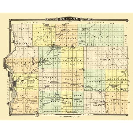 Old County Map   St  Croix Wisconsin Landowner   Snyder 1878   28 38 X 23