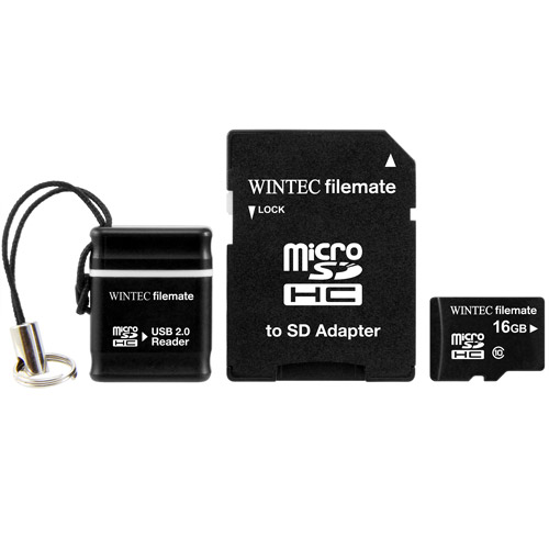 Wintec FileMate 16GB microSDHC Card with USB and SD Adapter