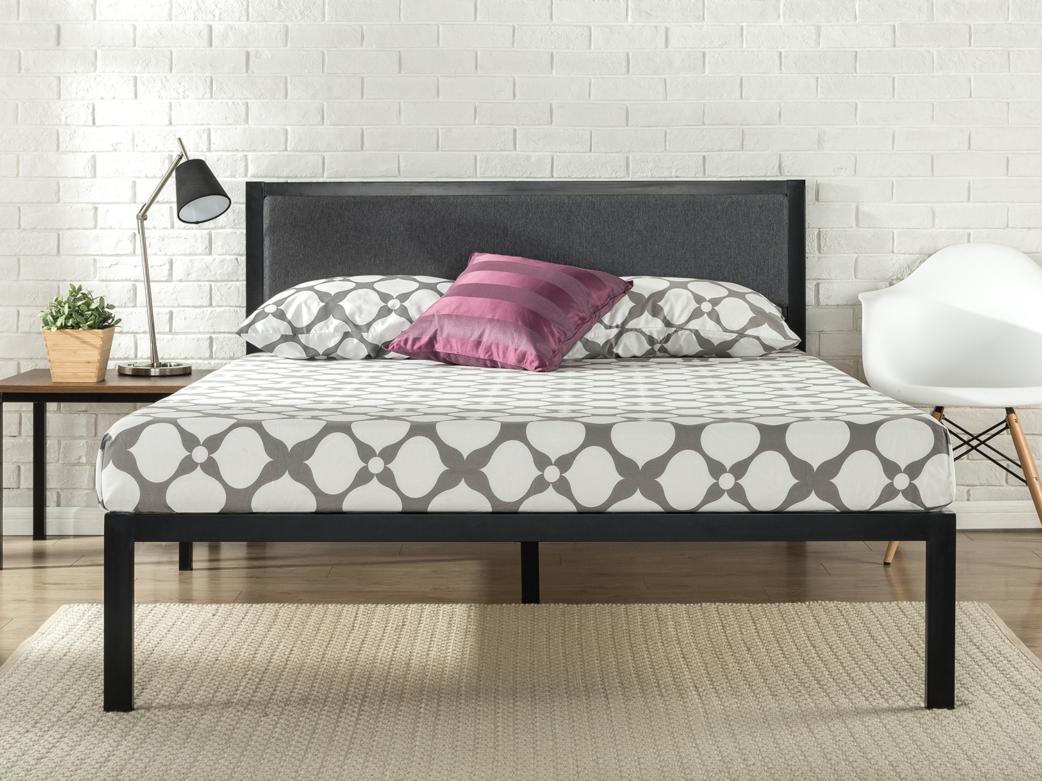 14 Inch King Platform Metal Bed Frame with Upholstered Headboard by ZINUS