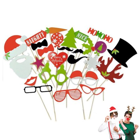 27pcs Funny Christmas Photo Booth Props on Stick for Wedding Birthday Party Supplies Favors
