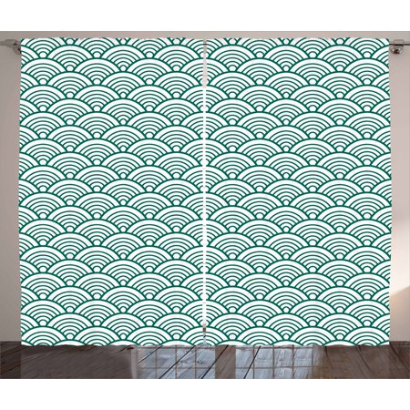 Teal Curtains 2 Panels Set, Traditional Japanese Chinese Seigaiha Pattern Abstract Scales Asian Inspirations, Window Drapes for Living Room Bedroom, 108W X 84L Inches, Jade Green White, by Ambesonne