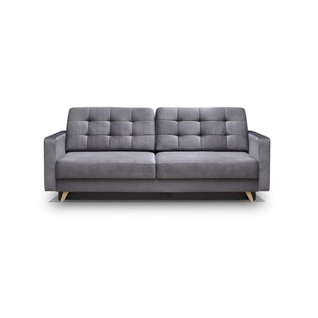 Vegas Futon Sofa Bed, Queen Sleeper with Storage, Gray