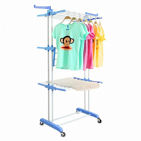 3 Tier Clothes Drying Rack Folding Laundry Dryer Hanger Compact Storage Steel Indoor Outdoor (White&Blue)