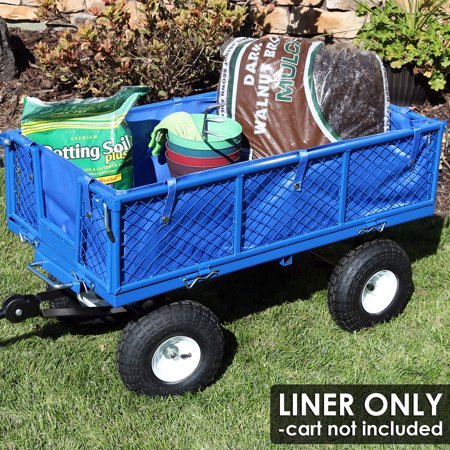 Sunnydaze Liner for Heavy-Duty Dump Cart, Heavy-Duty Polyester, Blue, Liner ONLY (Tool Cart Liner)