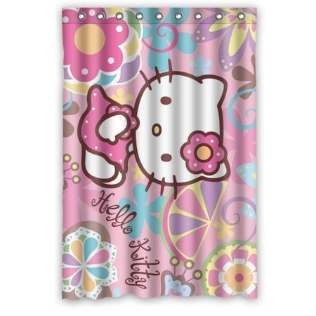DEYOU Hello Kitty Shower Curtain Polyester Fabric Bathroom Size 48x72 Inches