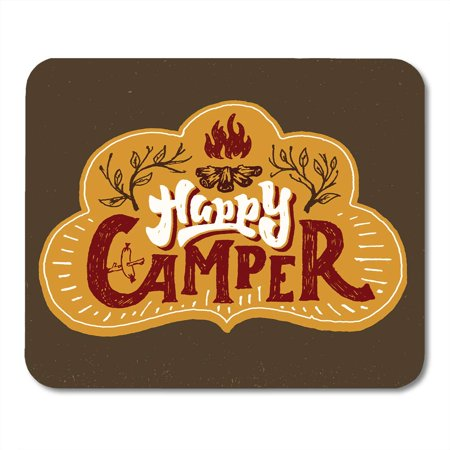SIDONKU Watercolor Fire Happy Camper Humorous Hand Lettered Badge Phrase Typographic Lettering Crafted Vibe Mousepad Mouse Pad Mouse Mat 9x10 inch](Phrase Humour Halloween)