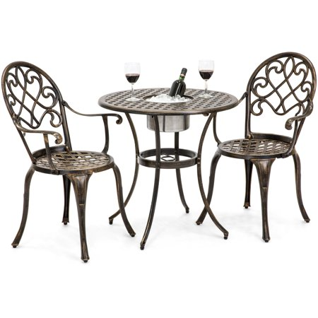 Best Choice Products Cast Aluminum 3-Piece Outdoor Bistro Set with Attached Ice Bucket, Copper