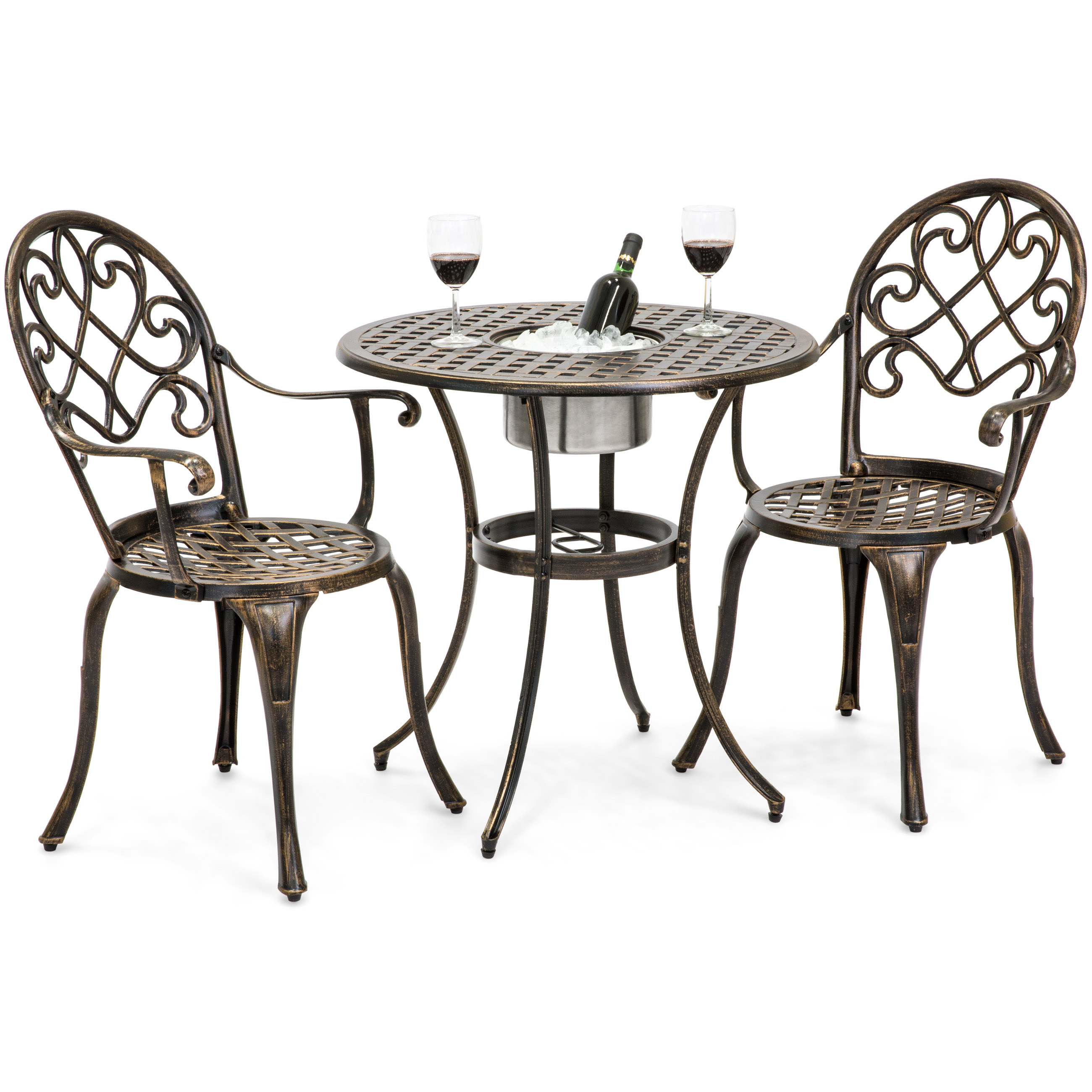 Best Choice Products Cast Aluminum Patio Bistro Table Set w/ Attached Ice Bucket, 2 Chairs - Copper