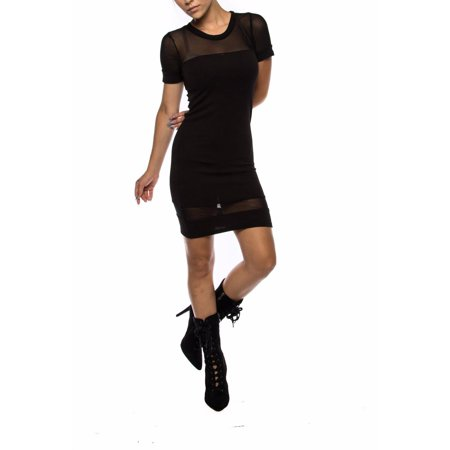 Club Mesh Panel Round Banded Neck Short Sleeve Bodycon (Mesh Panel Dress)