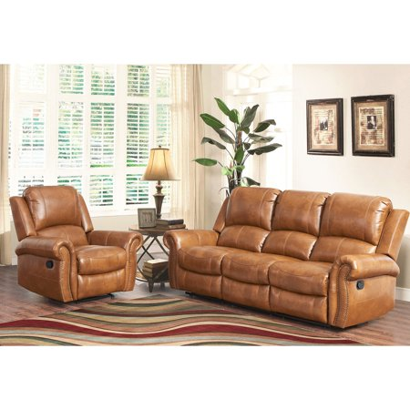 Abbyson Living Hayley Cognac Sofa And Chair Reclining Leather Set
