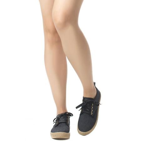 Soho Shoes Women's Espadrille Platform Canvas Lace Up Denim