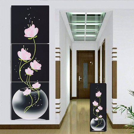 3 PCS Large Canvas No Frame Modern Abstract Art Oil Painting Flower Wall Decor