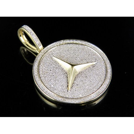 Men's 10K Yellow Gold Real Diamond Iced Mercedes Medallion Pendant 1 Ct 1.5